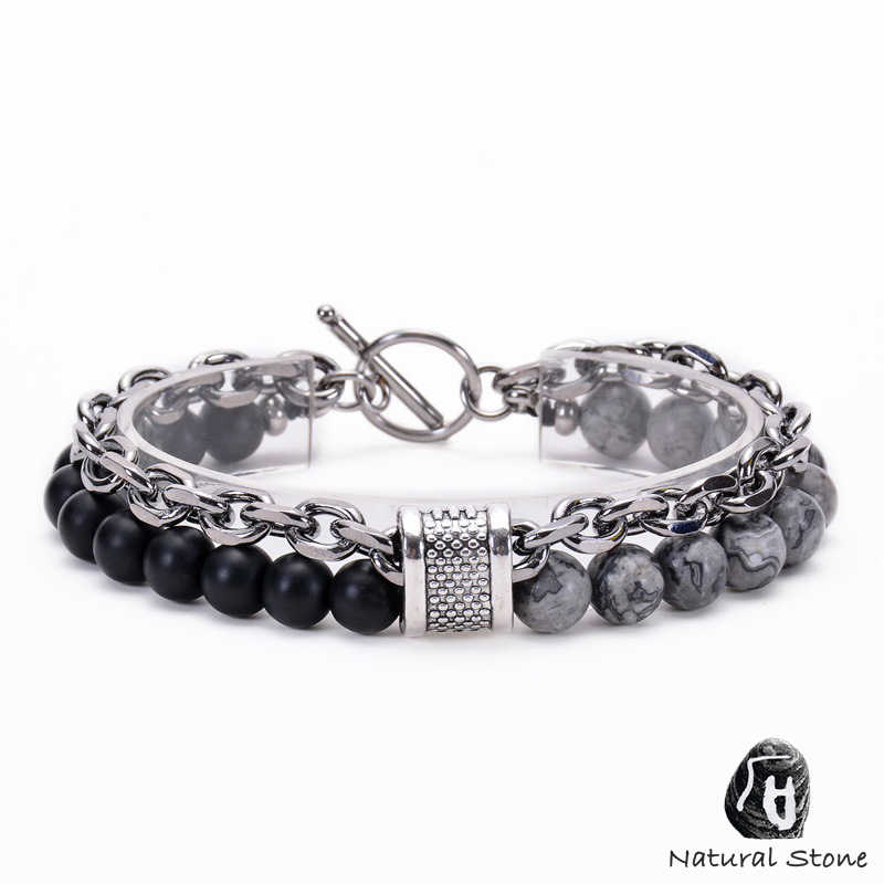 14 Style Natural Stone Men's Bracelet Black Lava Rock Map Stone Hematite Metal Link Chain Male Bracelets Stainless Steel Clasp