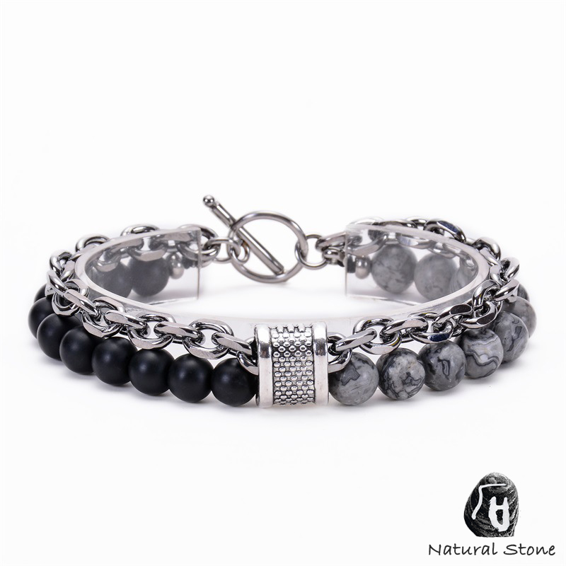Natural Gemstone Bracelet Volcanic Lava Hematite Beaded  Mens Boys Stone UK Rock style protections