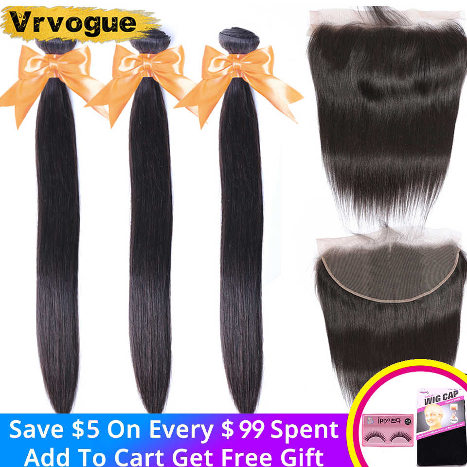 Vrvogue Peruvian Straight Hair 3 Bundles With Frontal Human Hair Weave Bundles 13x6 Lace Frontal Natural Color Remy Hair