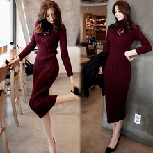 CINESSD The Sexy Black Knitted Sweater Dress Women Winter Cotton Loose Turtlenec