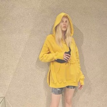 Yellow Sweatshirt Women 2019 Fashion Loose Casual Hoodie Pullovers Solid Broadcloth
