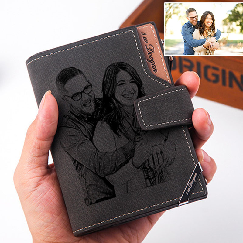 Men's Short Photo Wallet Fashion Luxury Brand Designer Personalized Wallets Purse Gifts for Men Husband with Zipper Coin Pocket