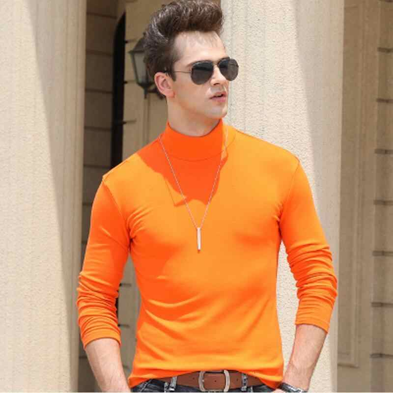 남자 긴 소매 티셔츠 절반 터틀넥 슬림 티셔츠 남자 겨울 따뜻한 풀오버 티셔츠 가을, 봄 티셔츠