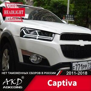 Для автомобиля Chevrolet Captiva головная лампа 2011-2018 автомобильный аксессуар дневной ходовой светильник DRL H7 светодиодный Биксеноновая лампа Captiva ...