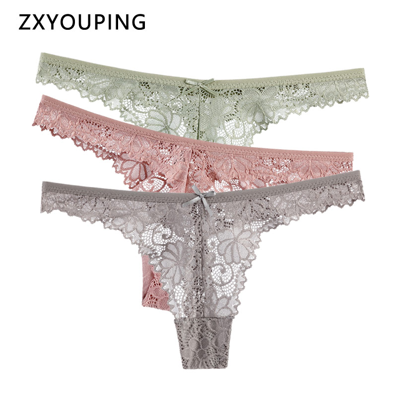 Sexy Hollow Thong Women Lace Panties Seamless Soft Underwear Transparent Breathable G String Cotton Crotch Low Waist Lingerie