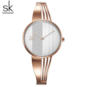 Image 3 - Shengke, relojes de pulsera lujosos de oro rosa para mujer, reloj de cuarzo creativo para mujer, reloj de pulsera para mujer 2019 SK # K0062