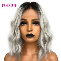 Gray Ombre Human Hair Wig Bob Natural Wave Full Peruvian Remy Human Hair Lace Front Wigs Wob Free Part Two Tone Black Root