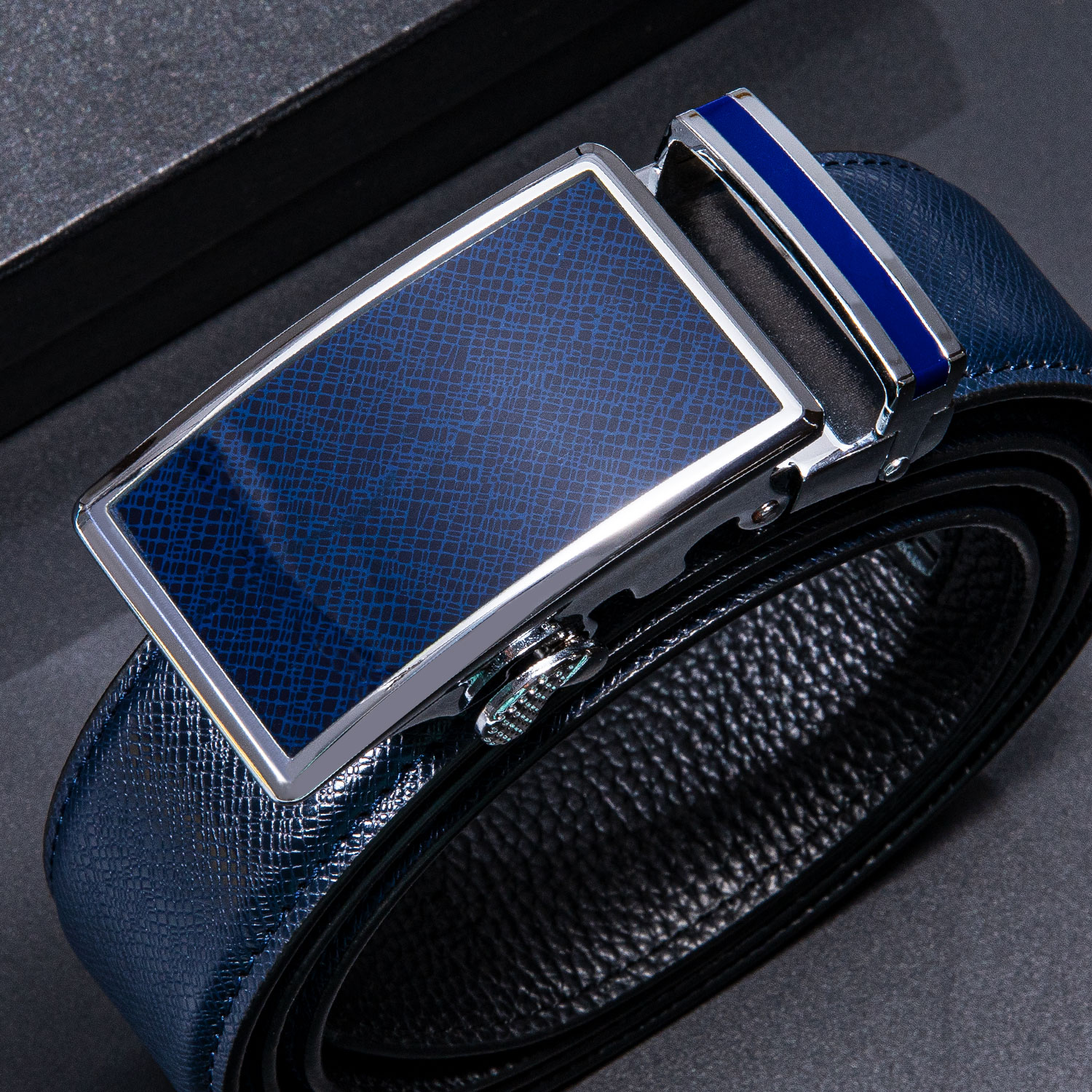 Hi-Tie New Blue Fashion Leather Buckle Belts for Men Trouser High Quality Genuine Leather Automatic Business Style Men's Belt