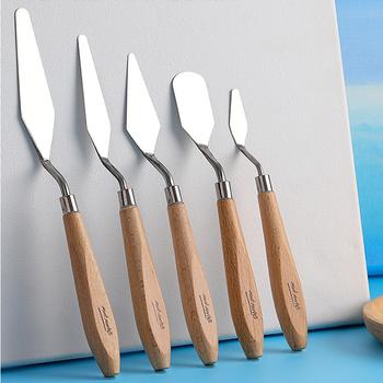5-paleta zestaw noży skrobak ze stali nierdzewnej obraz olejny w kolorze mieszania gwasz paleta farb nóż dostaw sztuki tanie i dobre opinie CN (pochodzenie) 1211 stainless steel 5-piece set Pointed round head