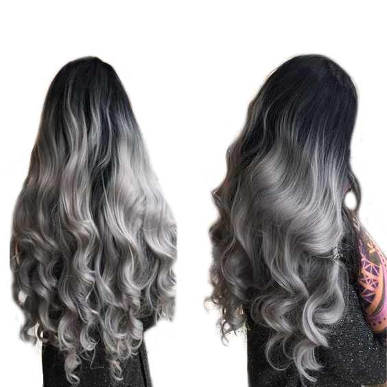 1B/Gray Human Hair Bundles 2 Tone Ombre Brazilian Hair Body Wave 3/4 Pcs/lot Non Remy Dark Roots Hair Extensions-in Hair Weaves from Hair Extensions & Wigs    1