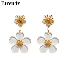 Korean Fashion Transparent Flower Earrings For Women Double Layers White Acrylic Simple pendientes