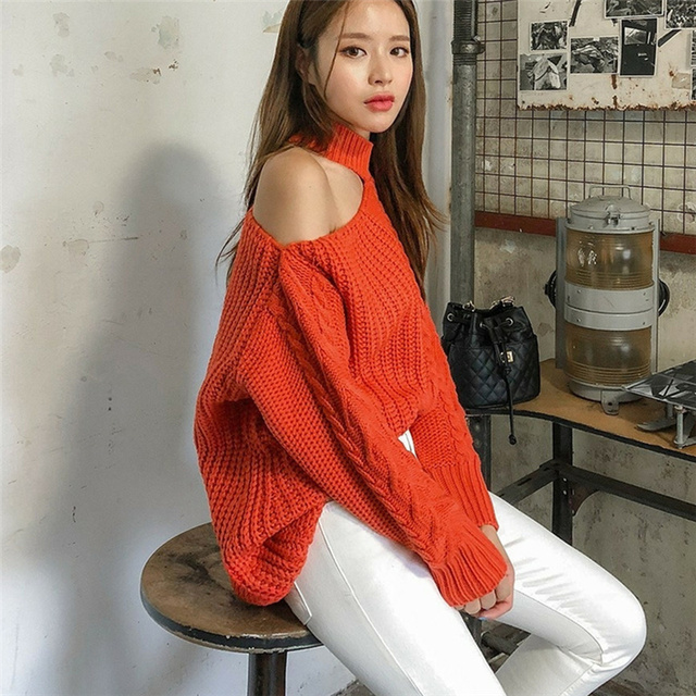 Ailegogo New 2021 Women's Sexy Sweaters Casual Minimalist Tops Sexy Korean Style Knitting Off Shoulder Ladies Autumn Winter 3