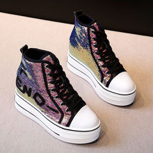 Inner Height Increasing Casual Shoes Women's All-Match Internet Celebrity 2021 New Platform High-Top Canvas Shoes