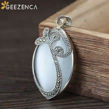 925 Sterling Thai Silver Oval-shaped Gemstones Pendant Necklace Cats eye Mosaic Craft Fine Jewelry Women Simple Trendy