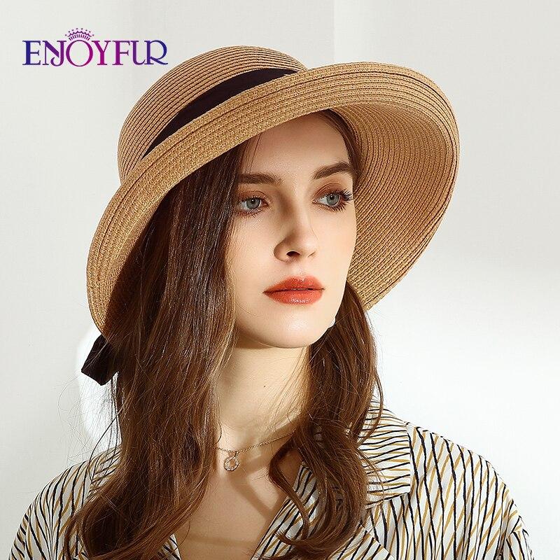ENJOYFUR womens summer sun hats wide brim straw beach hat girls fashion foldable UPF Sun protection hats chapeau femme 2020