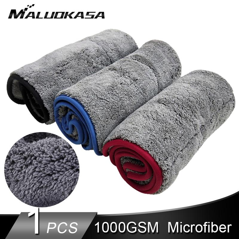 1000GSM Car Wash Towel Microfiber Car Detailing Auto Cleaning Cloth Super Thick Plush Car Cloths Wax Polishing Wash Drying Towel
