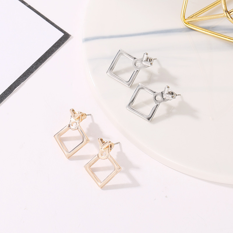 2019 Fashion Jewelry Cute Triangle Earrings Square Stud Earrings Unique Design Small Geometric Earrings Gift alentine's Day
