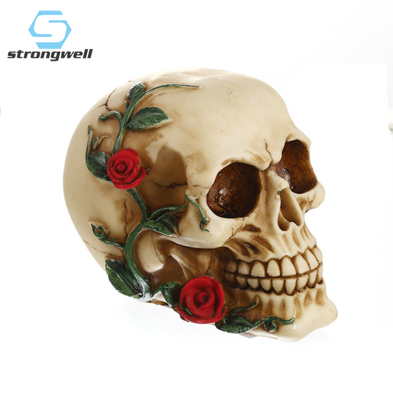 Strongwell European Rose Skull Figurines Resin Skull Desktop Retro Decoration White Crafts Personalized Halloween Skulls