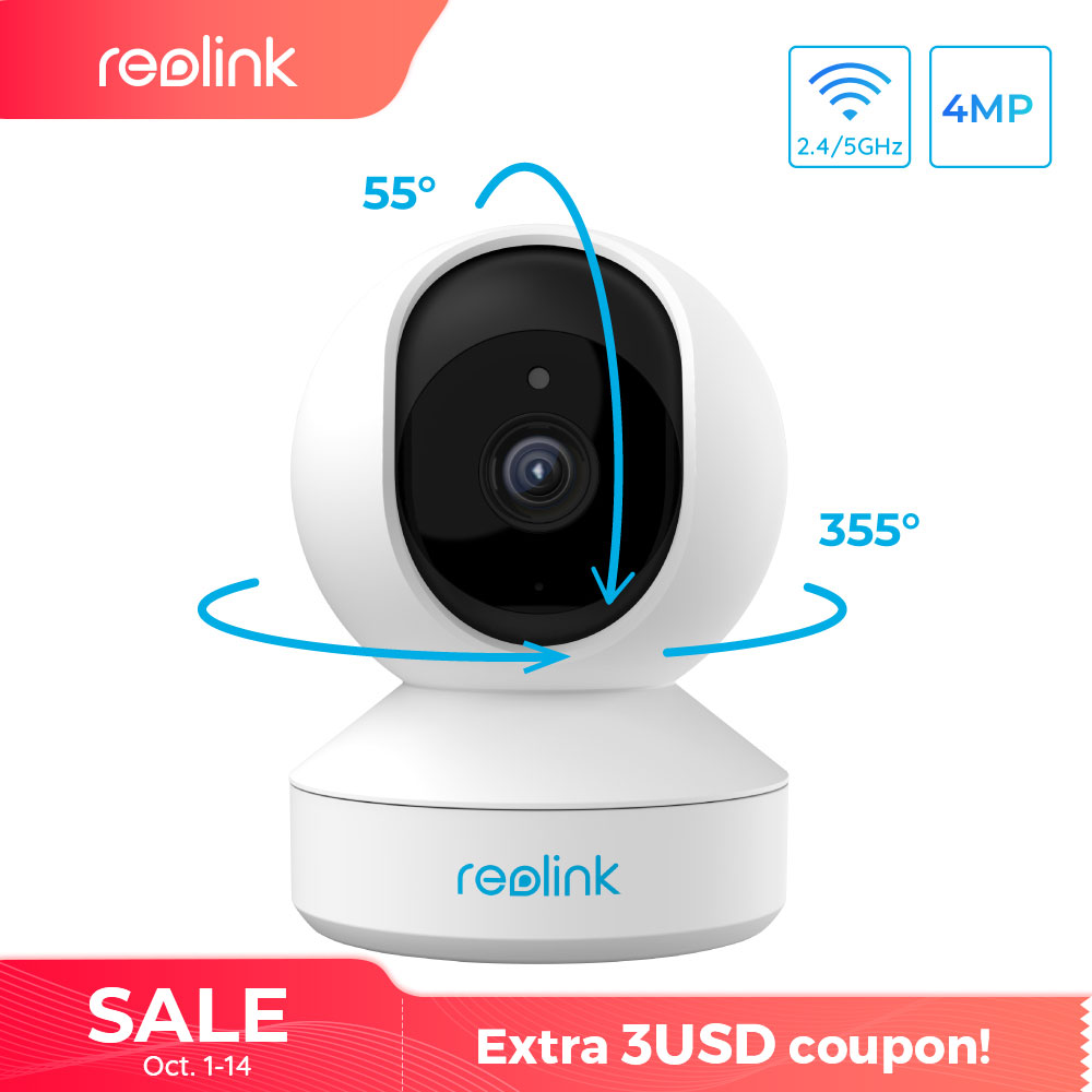 Reolink 4MP home security ip camera 2.4G/5G WiFi Pan&Tilt listen&talk SD card slot indoor Surveillance Camera E1 Pro-in Surveillance Cameras from Security & Protection
