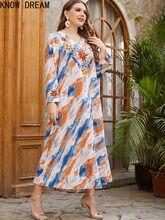 Conheça dream21650 estilo nacional feminino bordado manga longa elegante casual muçulmano vestido