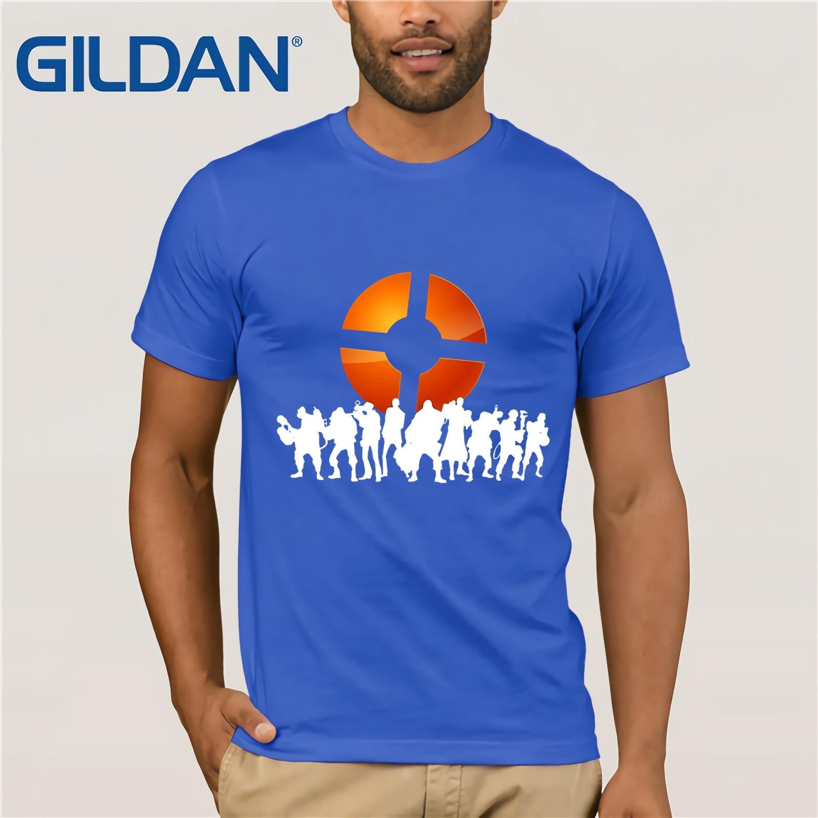 Men T Shirt Team Fortress 2 Logo T Shirt Black Funny T Shirt
