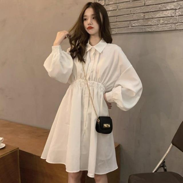 Woman Dress Long Sleeve Preppy Style Solid Sweet undefined Dresses Simple Elegant Pleated Japanese Students Womens Streetwear 4