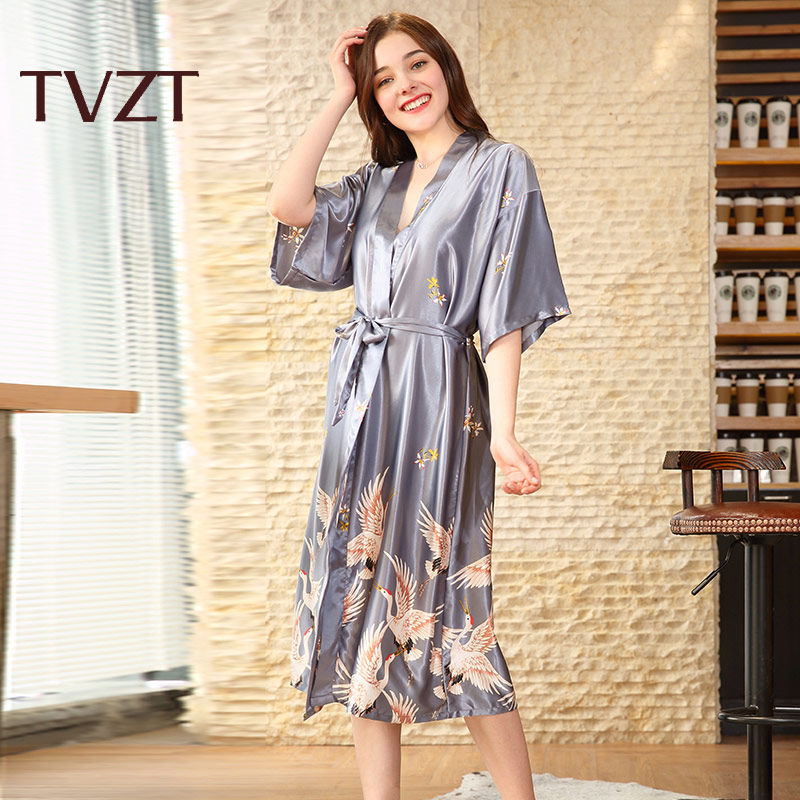 Tvzt 2020 New Nightgown Woman Elegant Home Wear Sleepwear Female Nightgown Suit Autumn Crane Animal Print Wide Sleeve Nightgown