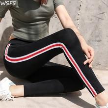 WSFS Leggings Calças Femininas Outono Legging Altura Da Cintura Gótico Listrado Casuais Aptidão Leggings Esportivos Calças Mulheres Calças legin