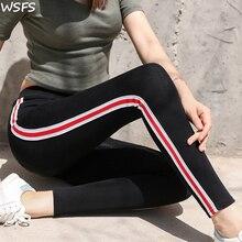 WSFS Leggings Women Pants Autumn Legging Height Waist Casual Striped Gothic Fitness Leggings Sporting Pants Women legin Trousers