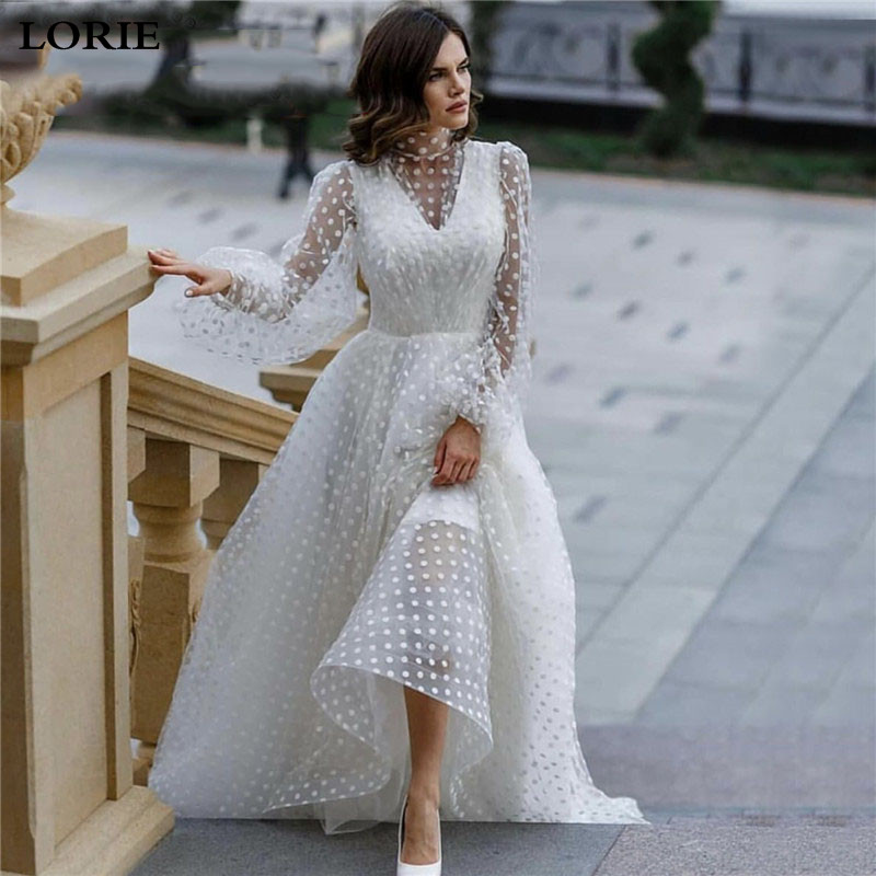 LORIE Princess Wedding Dress Puff Sleeve Lace Wave Point Tulle Bride Dresses Vestido De Novia High Neck Boho Bride Gowns