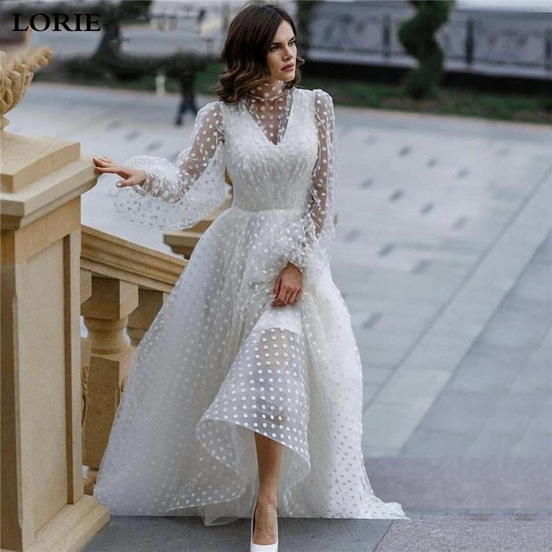 LORIE Princess Wedding Dress Puff Sleeve Lace Wave Point Tulle Bride Dresses Vestido De Novia High Neck Boho Bride Gowns