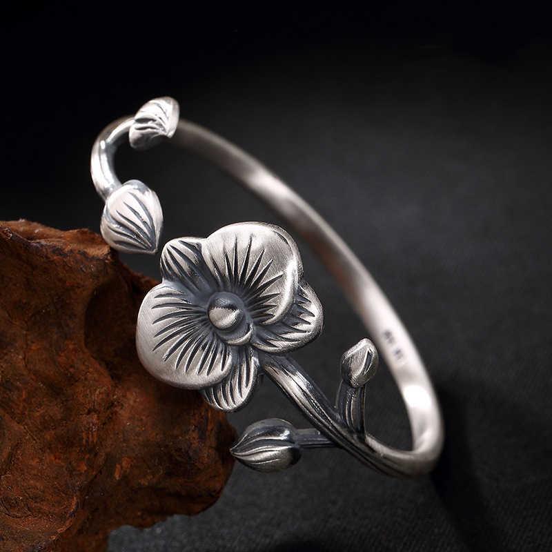925 bransoletka ze srebra wysokiej próby z motywem kwiatowym Blooming bogate Phalaenopsis kwiat prosty, modny czystego srebra otwarcia Lady bransoletka