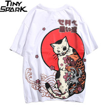 Camiseta de Hip Hop para hombres de 2020, camiseta Ukiyo con gato japonés, Harajuku Streetwear, pantalón corto informal de manga larga, Camiseta estilo japonés