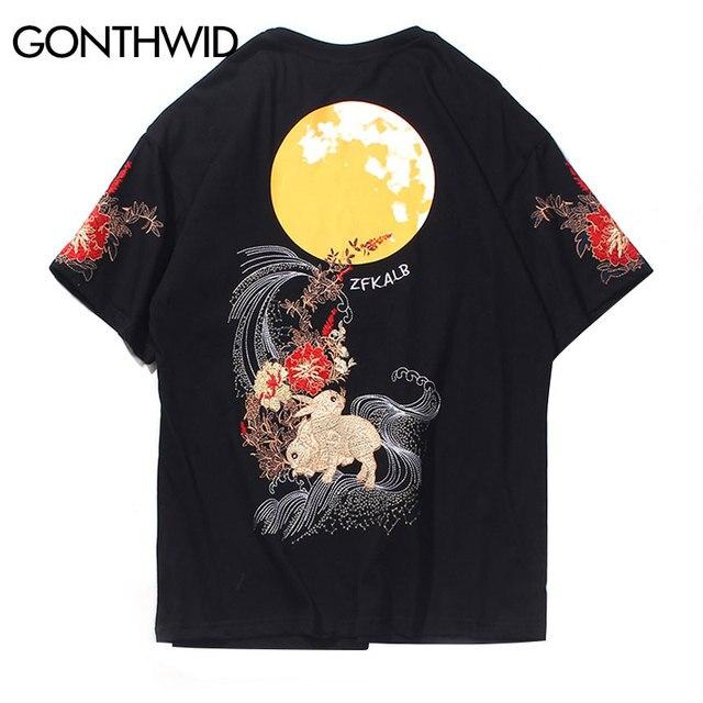 GONTHWID bordado conejo flores estampado de Luna camisetas Streetwea Harajuku Hip Hop pantalón corto casual manga camisetas hombres verano Tops
