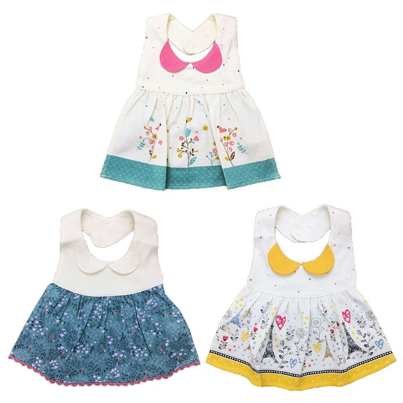Baby Girl <font><b>Bibs</b></font> <font><b>Skirt</b></font> Pattern <font><b>Bibs</b></font> with Adjustable Snap Infant Cloth Saliva Towel D7YD image