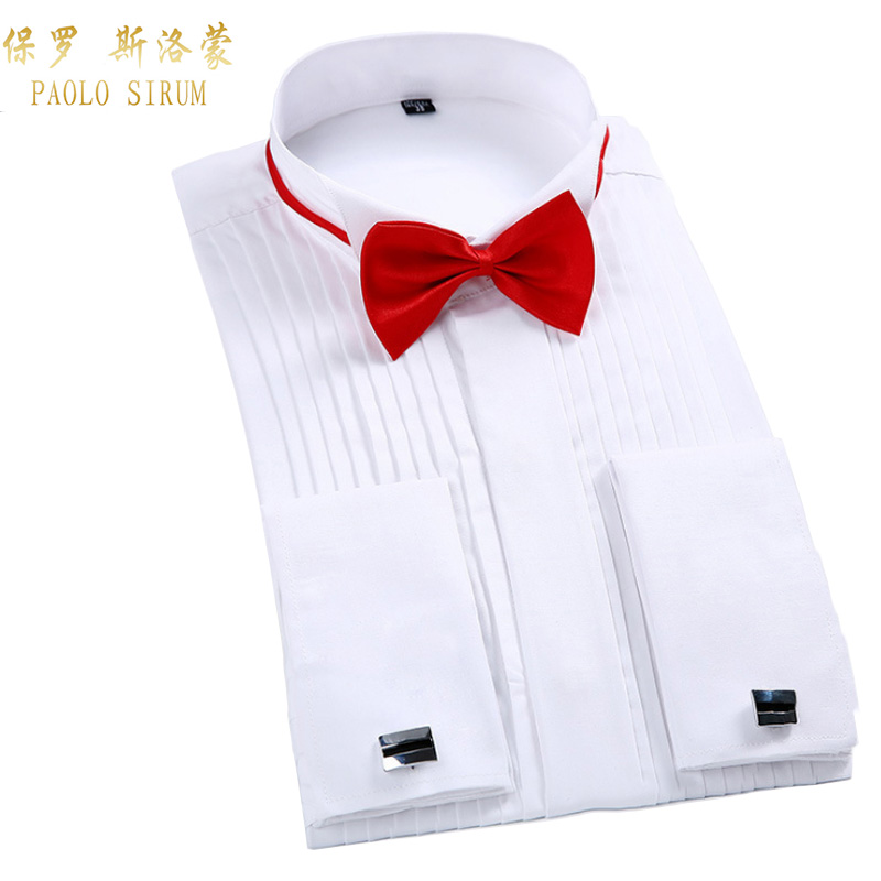Men Tuxedo Dress Shirt White Regualr Fit Plus Size French Cufflinks Long Sleeve Luxury Wedding Party Male Shirts 6xl
