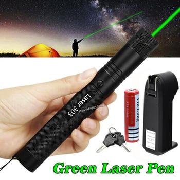 Potężny zielony czerwony wskaźnik laserowy 10000m 5mw Laser 303 Sight Focus regulowany palnik palnika Lazer