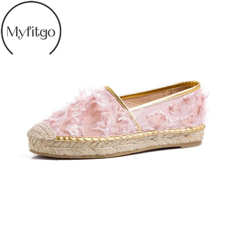 Myfitgo Espadrilles femme rose noir mode mocassins plats chaussures pour femme toile chanvre chaussures décontractées automne sans lacet chaussures paresseuses