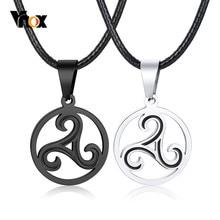 Vnox-collares Retro Para hombre y mujer, Triskelion celta, con 60-65cm, cuerda de cuero negro, accesorio para cadena