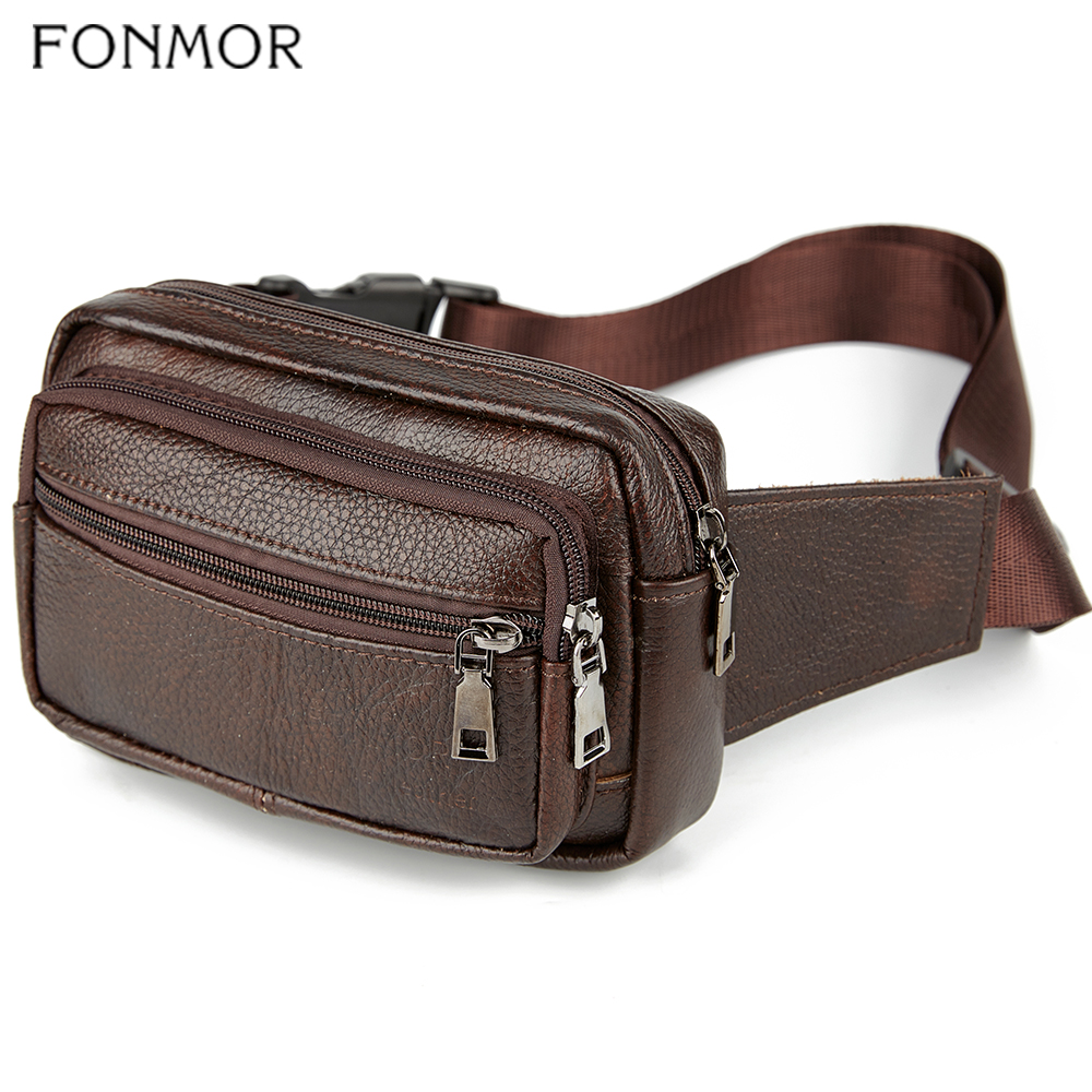 Genuine Leather Waist Bag Men Waist Pack Multi-function Zipper Funny Pack Belt Bag Men Chain Waist Bag For Phone Pouch Male HOT