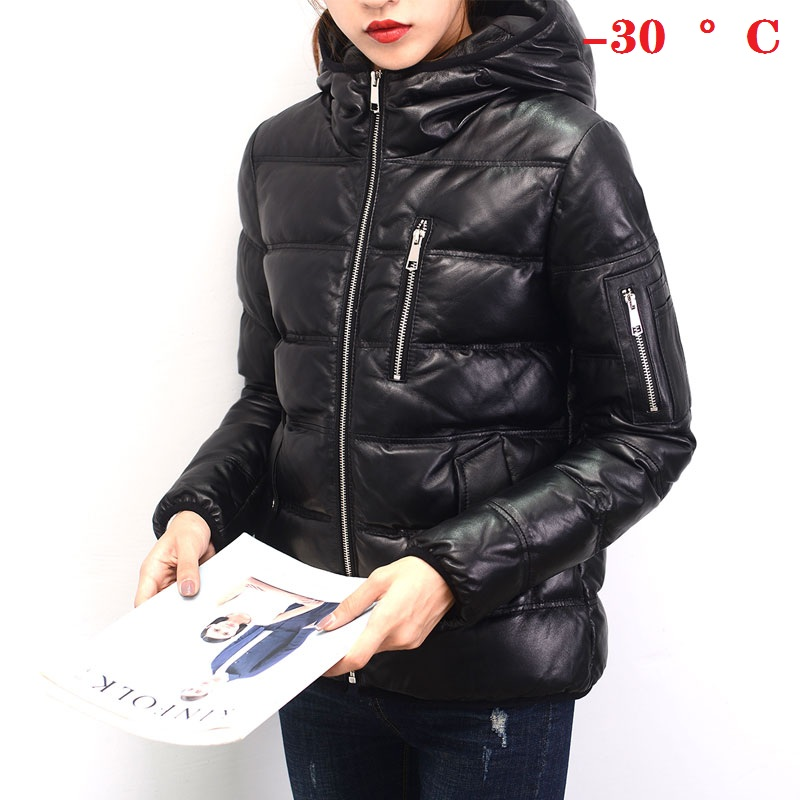 Women Genuine Jackets Winter Thick Female 90% White Duck Down Sheepskin Jacket Soft Plus Size Leather Coat