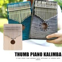 Kalimba africano de 17 teclas, instrumentos musicales de madera para dedo del pulgar, juego de Sanza Mbira Kalimba con soporte