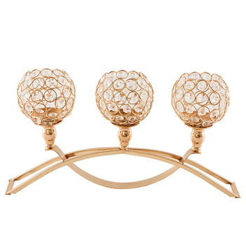 Gold Votive Crystal Candle Holder Arch Bridge Shape 3 Arms Candelabra for Wedding Decoration Dining Table Centerpieces