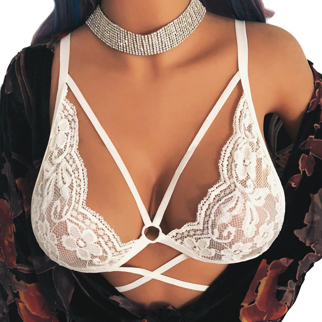 Women Casual V-Neck Spaghetti Strap See Sleepwear Through Hollow Floral Unpadded Wire Free Lingerie Summer Bra