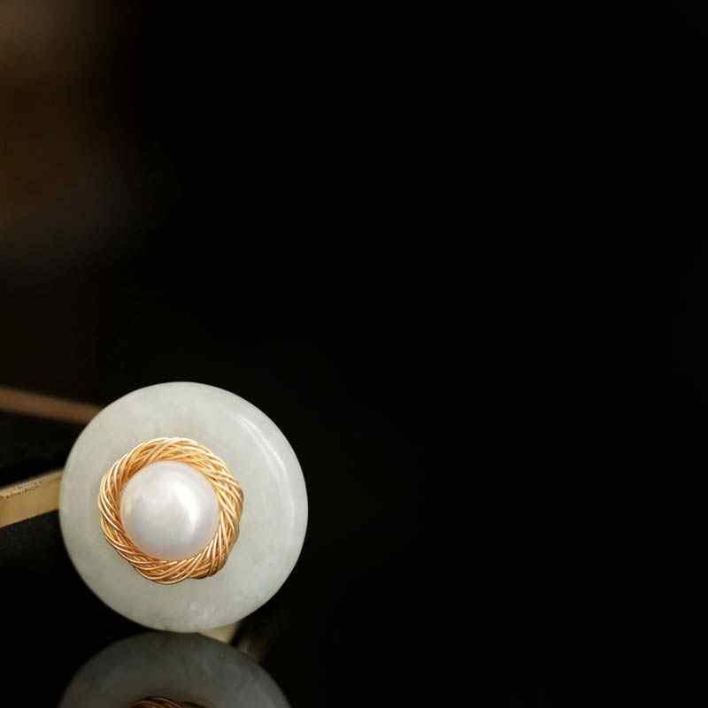 DAIMI Handmade Pearl แหวน Retro สไตล์ไข่มุกน้ำจืดแหวนหยกแหวนอารมณ์