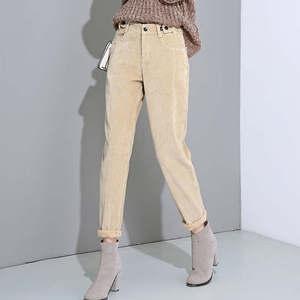 Image 3 - סתיו החורף גבוהה מותן קורדרוי הרמון מכנסיים נשים בתוספת גודל רופף שחור מכנסיים נשים ארוך בתוספת קטיפה מכנסיים טרנינג C5803