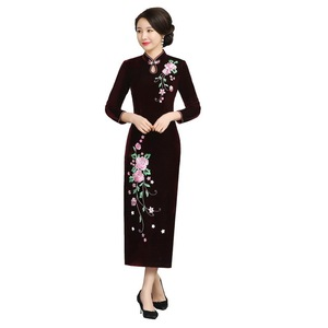 Image 5 - And Thickened Long Nine Sleeve Cheongsam Dress Improved Retro Mother Velvet Cheongsam Embroidery Autumn And Winter 2020