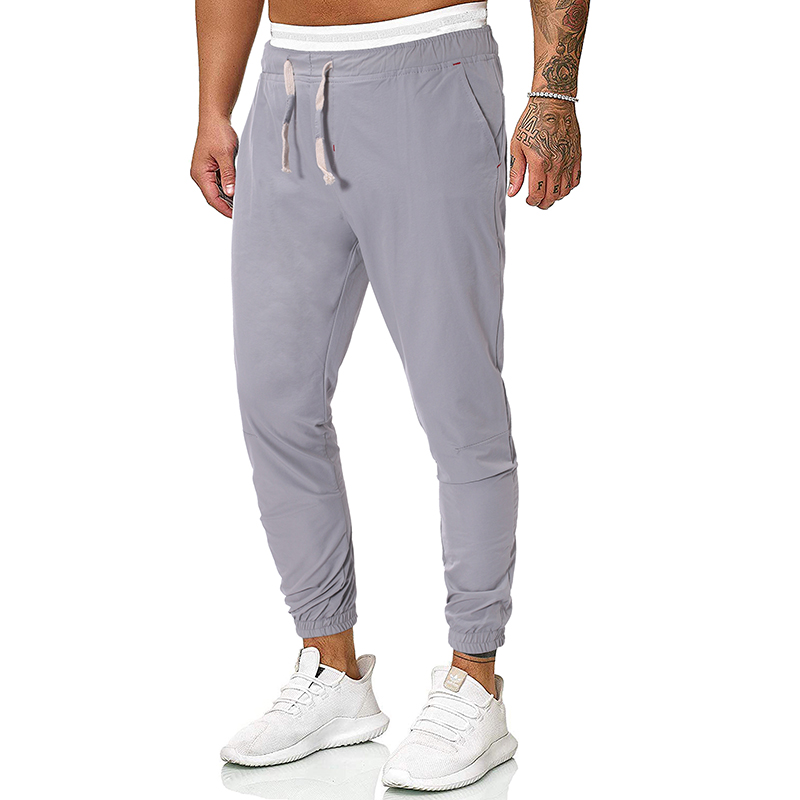 2020 Fashion Mens Autumn Sweatpants Full Length Casual Solid Slim Elastic Waist Streetwear Joggers Homme Sweat Pants