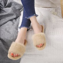 Купить с кэшбэком freeshipping 2019 autumn and winter new women shoes indoor solid color cotton fashion trendy Hairy slippers