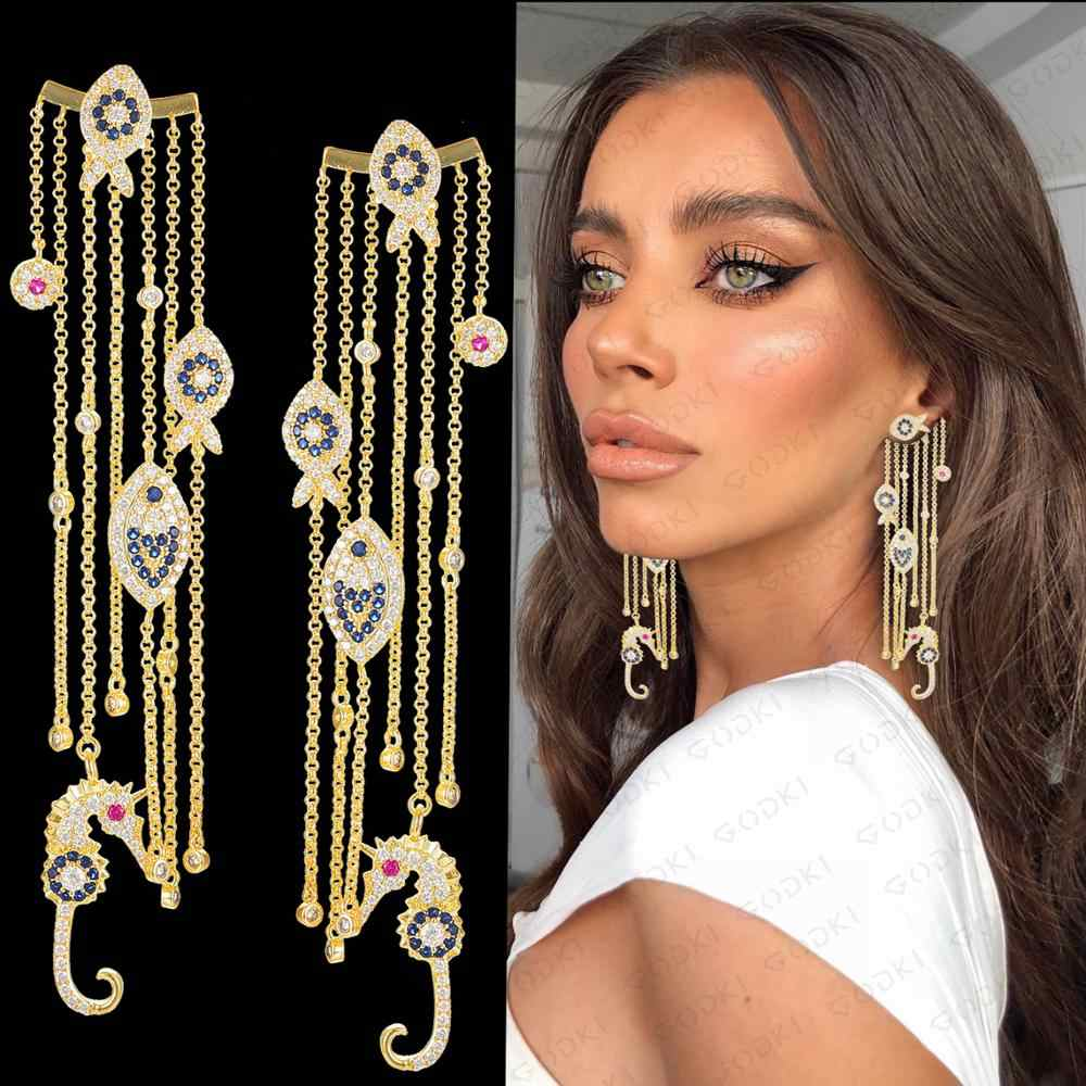 GODKI Ozean Charms Kollektion 2019 Trendy Volle AAA Cubic Zirkon CZ Engagement Party Afrikanischen Kleid Ohrring Modeschmuck Frauen